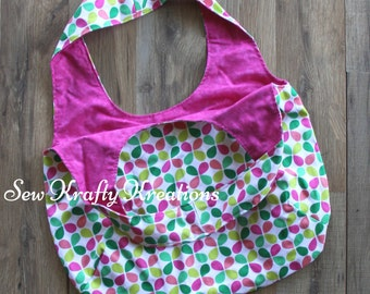 Tote Bag - Multi Color Leaves with Pink Lining