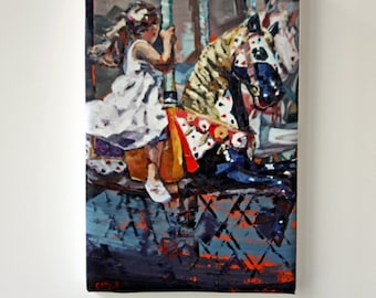 Tiny Canvas | Carousel | Child Art | Canvas Print | Wall Art | Girl on Carousel | Small Art Print | Present | Collectible Art | Miniature