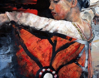 Limited edition print, reproduction, of my, original art, impressionist oil, modern painting, dancer art, 'Butterfly Dancer'. Wall Art.