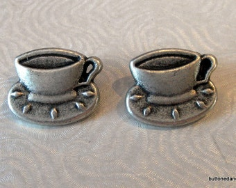 2 20x15mm Silver Tone Cup and Saucer Metal Shank Buttons