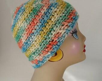 Crochet Acrylic Hat, Ladies Teens, Sweet, Ski Outdoor Activities Cap, Soft, Yellow, Orange, Turquoise, Green, See Matching Scarf TOO