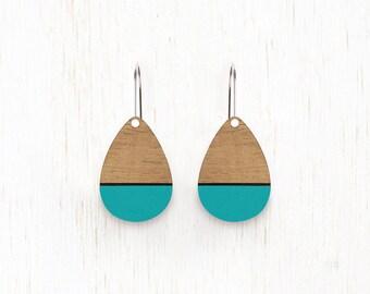 SMALL Rainsong - Teardrop Wood Earrings - laser cut - aqua