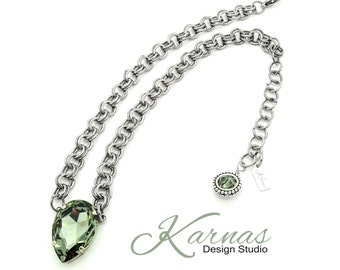 BLACK DIAMOND PEAR Crystal Necklace Made With Swarovski Elements 30x20mm Stone *Pick Your Finish *Karnas Design Studio *Free Shipping*