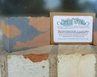 Activated Charcoal Soap - Charcoal Acne Soap - Peppermint Patchouli - Facial Soap - Hippie Soap - Hipster Soap - Palm Free Soap