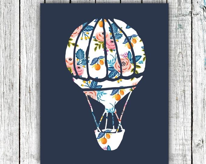 Nursery Art Printable, Hot Air Balloon, Baby Girl, Floral, Navy Pink Orange, Digital Download Size 8x10 #529