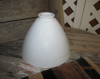 """Vintage 8"""" Corning Milk Glass Lamp Diffuser Rembrandt Waffle Torchiere Floor Lamp Shade"""