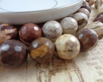 6 Coffee Agate Beads Round Faceted Small Brown Cream White Tan Beads 10mm Agate Beads Small Round Faceted Coffee Agate Brown Swirls Marbled
