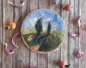 Romantic wool painting - Tuscan landscape - needle felted painting - Wall hanging - Waldorf home decor - gift for romantic women