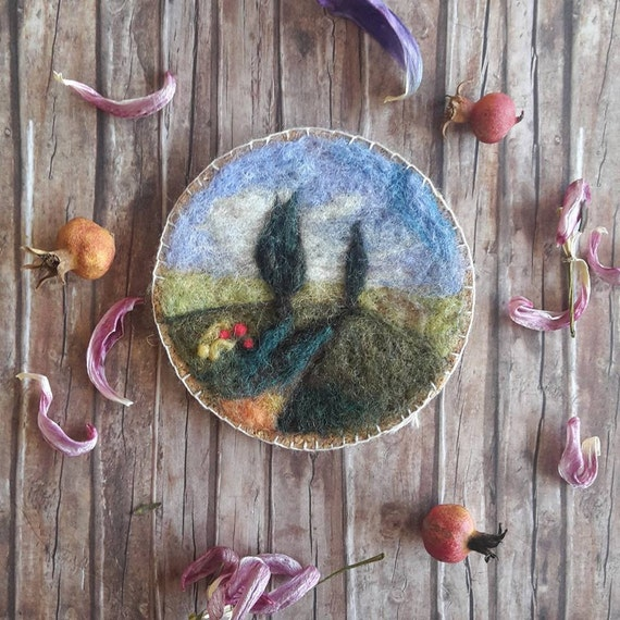Spring wedding favors - romantic wool painting - Tuscan landscape - needle felted painting - Waldorf home decor - gift for romantic women