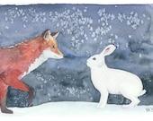 An original Christmas card. Fox and rabbit Christmax card. Unique Xmas card. Finnish Christmas card. Animal art print. Christmas watercolor.