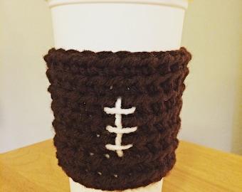 Football Crochet/Knit Coffee Sleeve/Cozy