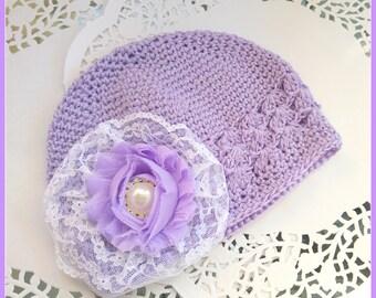 Purple Crochet Baby Hat with Flower, Lavender Baby Beanie, Purple Knitted Hat, ZBB