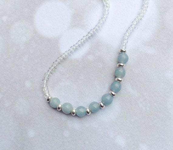 ANGELITE NECKLACE Pale Blue Slim Choker Angel Beads Sterling
