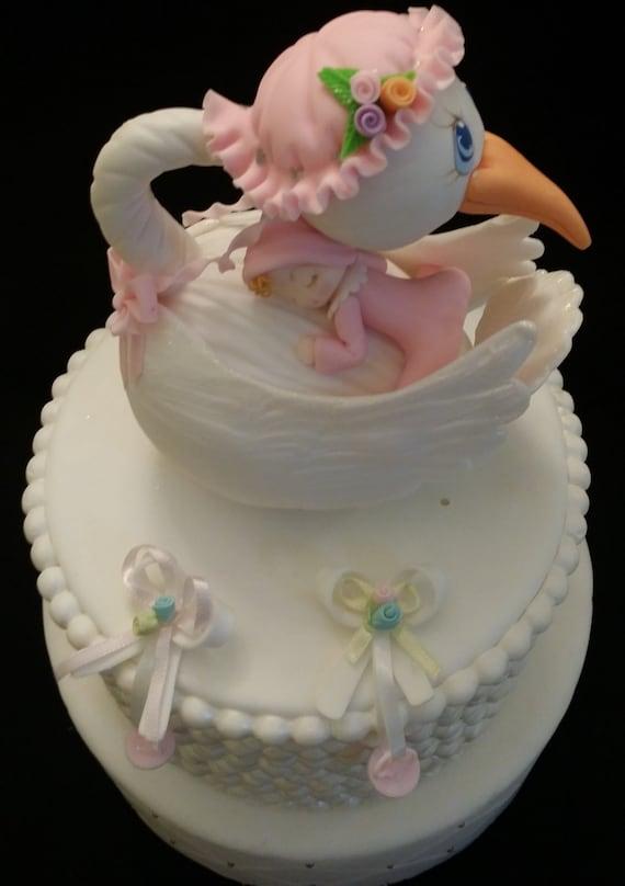 Etsy Cake Decorations : Stork CakeTopper Baby Shower Cake Topper Stork Cake
