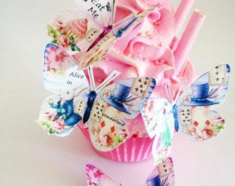 36  Edible Butterflies  cupcacake toppers Alice In Wonderland  rabbit childrens tea party birthday christening