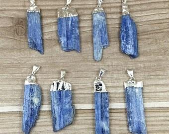 Blue Kyanite Pendant, Raw Kyanite Charm, Electroplated in Silver Plated Kyanite Pendants Charm (SD5A2)