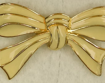 Vintage Trifari crown bow pin/brooch enamel and gold tone
