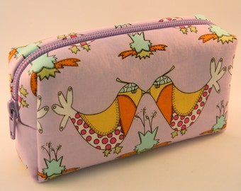 Crazy Bird Makeup Bag- Small- Handmade