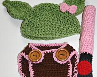 Yoda Crochet Baby Prop Costume Newborn 0-3 Months Girl