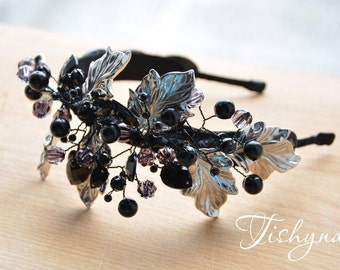 Black berry Black fascinator headband Festive accessory black and silver rhinestone berry headpiece berry headbandblack hair accessories