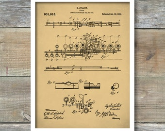 Flute 1908 Patent Poster, Music Room Decor, Flute Art, Musician Gift, Marching Band, Band Director Gift, P316