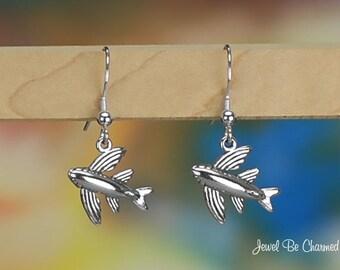 Sterling Silver Flying Fish Earrings Fishhook Earwires Solid .925