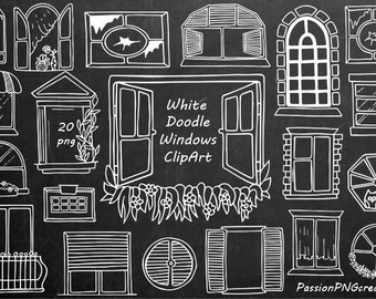 White Doodle Windows Clipart, Hand Drawn window, digital windows clip art, PNG, For Personal and Commercial Use