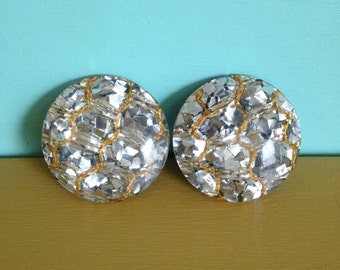 Vintage 1950s 50s 50's midcentury pinup girl rockabilly large round silver glitter metalflake lucite clip on earrings gold thread jewelry