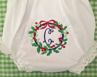 Monogrammed Christmas  Bloomers Personalized Diaper Cover-Holiday Wreath