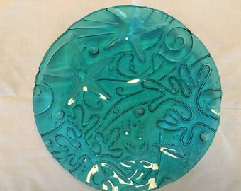 """Plate, 10"""" fused glass teal blue transparent"""