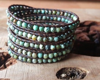Chan luu Style Wrap Bracelet With African Turquoise On Natural Brown Leather