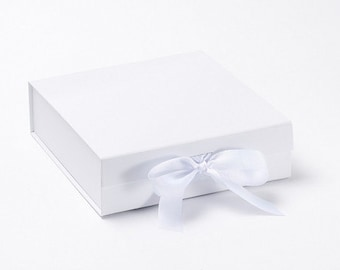 White Magnetic Closure With Ribbon Gift Box