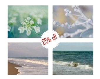 Aqua teal bathroom decor wall art, nature photography set of4, ocean photographs floral pictures, bedroom gallery wall art, white turquoise
