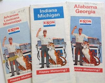 Vintage 70s collection Exxon gas station roadmaps Alabama/Georgia Indiana/Michigan/Arkansas/Louisiana/Mississippi