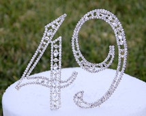 """New Large 5"""" Crystal Rhinestone NUMBER 49 Cake Topper Silver 49th Birthday Party Forty Nine Anniversary CT490"""