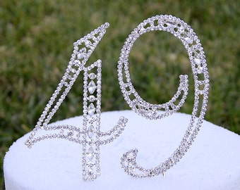 "New Large 5"" Crystal Rhinestone NUMBER 49 Cake Topper Silver 49th Birthday Party Forty Nine Anniversary CT490"
