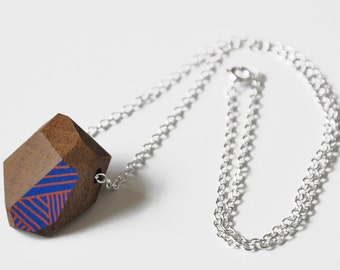 Wooden Geometric Eco Rock Terrarium Necklace - reclaimed wood and Sterling Silver