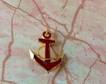 Vintage Anchor Pin, Red Enamel, Goldtone