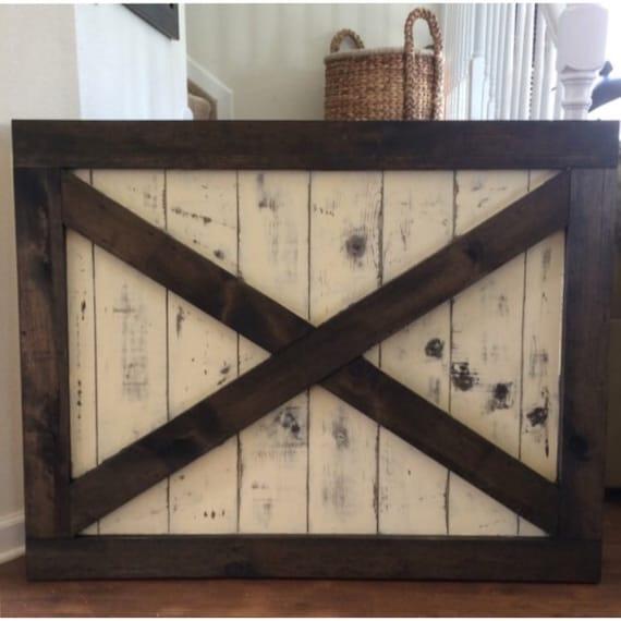 Custom Made Rustic Barn Door Style Baby Gate Two Tone