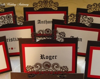 Gothic Style Place Name Card. Seating Card. Name Card.