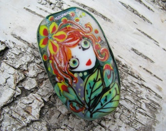 "Handmade Lampwork glass pendant, Lampwork glass focal bead, ""Girl with flowers"""