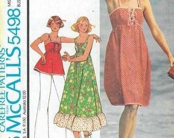 1970's Vintage Sewing Pattern - Dress Pattern, Shirt Pattern McCalls Patterns # 5498 HV
