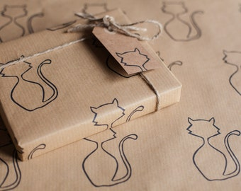 Handprinted cat wrapping paper including 1 piece gift wrap, 2 x gift tags & twine.