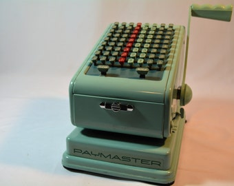 Vintage Paymaster, Retro Check Writer, Teal Blue Paymaster, Office Equipment