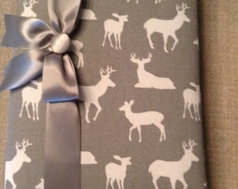 Grey Background Fabric with White Deer Silhouettes!  Fabric Covered Photo Album Perfect For New Baby or Outdoor Theme!