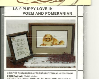 Puppy Love II:  Poem and Pomeranian Cross Stitch Chart