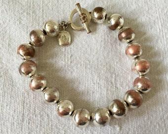 Vintage Ralph Lauren Silver Tone Bead Toggle Charm Bracelet Jewelry