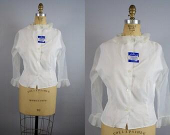60s Ruffle Blouse / Vintage 1960s White Blouse / 60s White Blouse 38