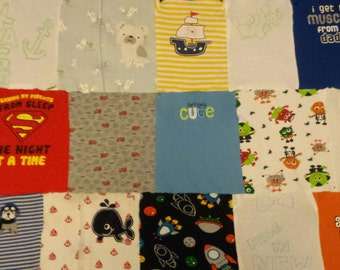 """36""""×36"""" flannel Baby Clothes Quilt"""