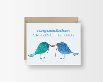 Cute Engagement Card / Congrats on Tying the Knot Card / Love Bird Card / Cute Animal Wedding Card / Watercolor Congrats Wedding Card